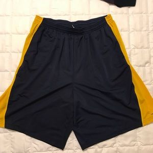 Men's blue with gold stripe athletic shorts